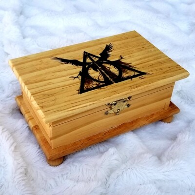Hand Woodburned Art - Deathly Hallows - Large box, 7.5x5 inch  - Harry Potter Art