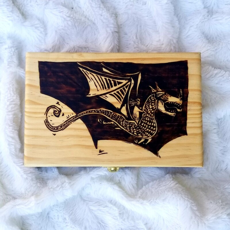 Hand Woodburned Art - Woodcut Dragon - Large box 8.25 x 5.5 inch  - Fantasy Artwork