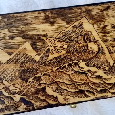 Hand Woodburned Art - Viking Ship - Large Box 8.25 x 5.5 inch  - Fantasy Artwork