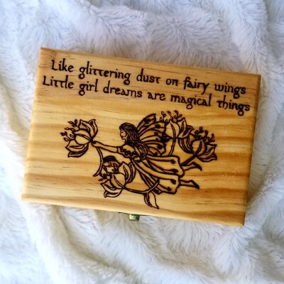 Hand Woodburned Art - Little Girl Dreams - Medium box, 6 x 4.25 inch  - Fantasy Art