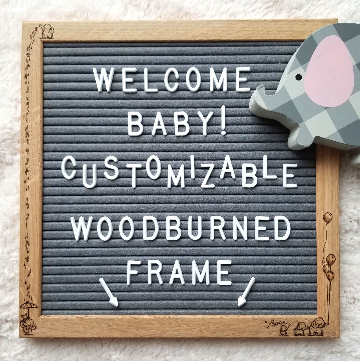 """Artistic Atmosphere - Customizable Woodburned Art Felt Letter Board - """"Baby Elephants"""" - 10x10 Inch - Gray Felt - Easel Stand, 340 Letters and Storage Bag Included"""