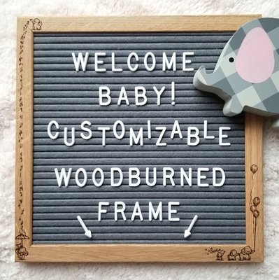 Artistic Atmosphere - Customizable Woodburned Art Felt Letter Board -