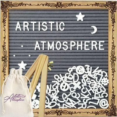 "Artistic Atmosphere - Woodburned Art Felt Letter Board - ""Fleuri"" - 10x10 Inch - Gray Felt - Easel Stand, 340 Letters and Storage Bag Included"