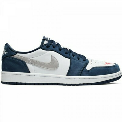 NIKE SB AIR JORDAN 1 LOW MIDNIGHT NAVY/METALLIC SILVER-WHITE