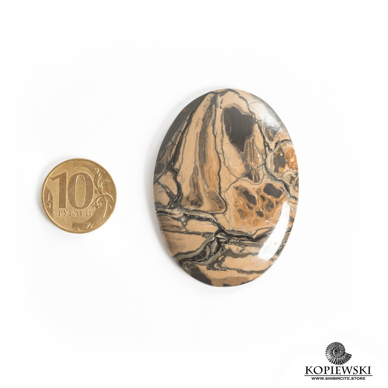 Кабошон из сенгилита 55*40*5 мм