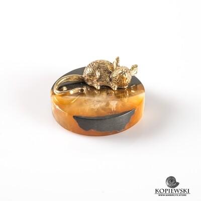 Brass Rat on Simbircite stone stand (Eastern horoscope)