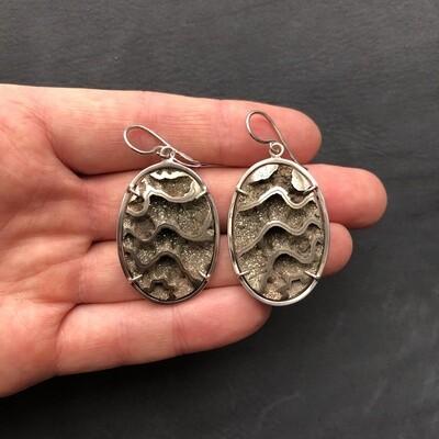 Earrings with Ammonite Geode