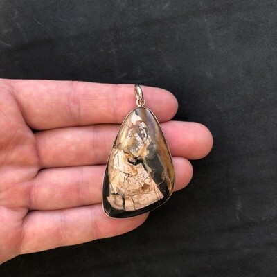 Pendant with fossil pearl