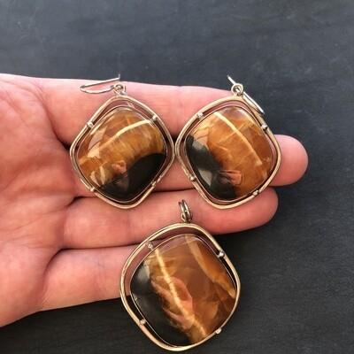Pendant + Earrings (stone Simbircite)