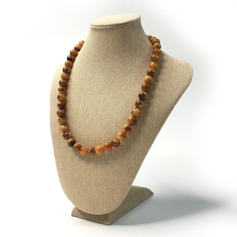Simbircite stone necklace (yellow) Ø 11 mm