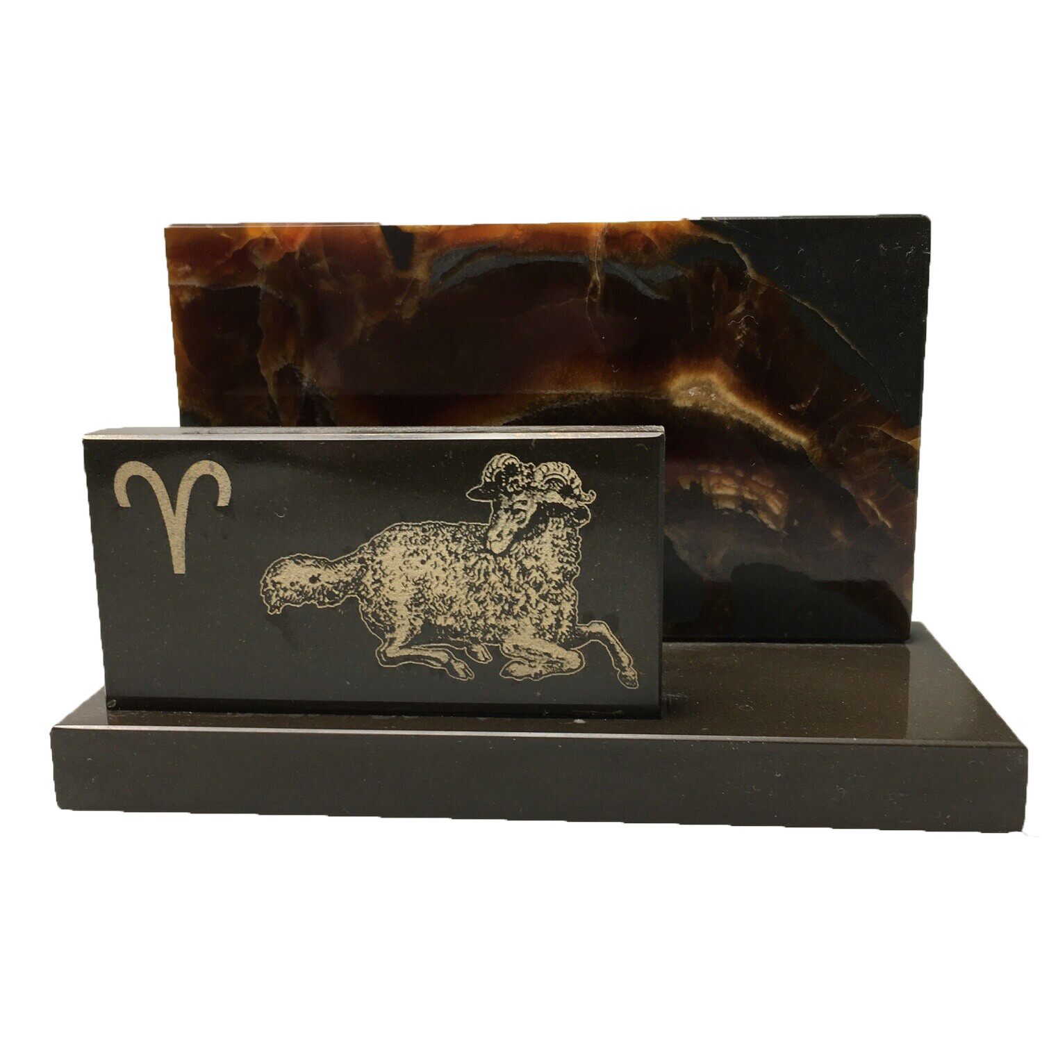 "Desktop business card holder ""The signs of the Zodiac"" Aries"