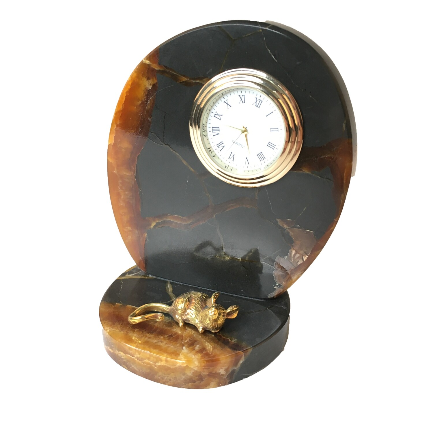 Mini-clock on a stone cut Simbircite with a mouse