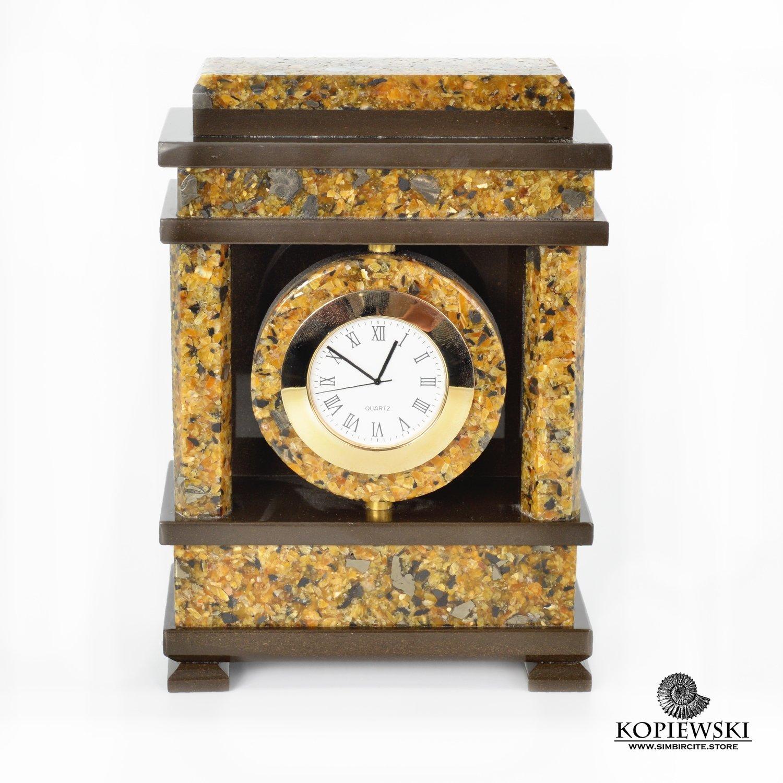"""Каминные часы """"Ампир"""" из Мозаичного Симбирцита"""