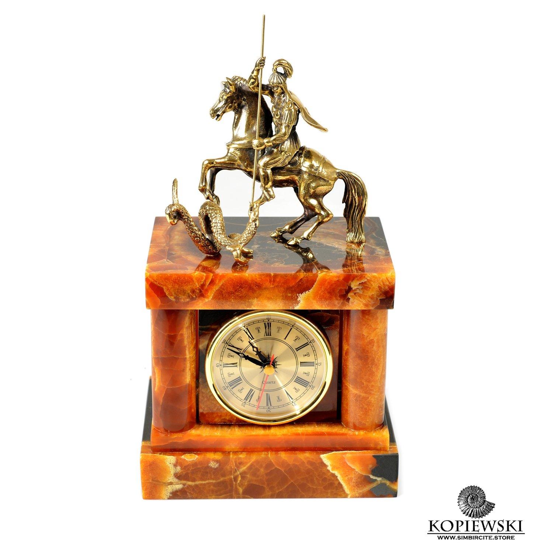 """Каминные часы """"Георгий Победоносец"""" из Симбирцита"""
