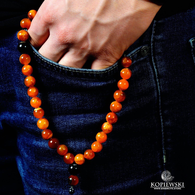Muslimsk Rosenkrans (Subha) lavet af Simbirsit med indsatser gennem 11 perler.