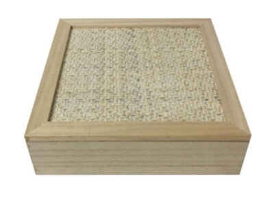 SQUARE NATURAL / WHITE WOVEN TEA BOX