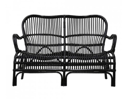 FURNITURE -  RATTAN 2 SEATER BLACK