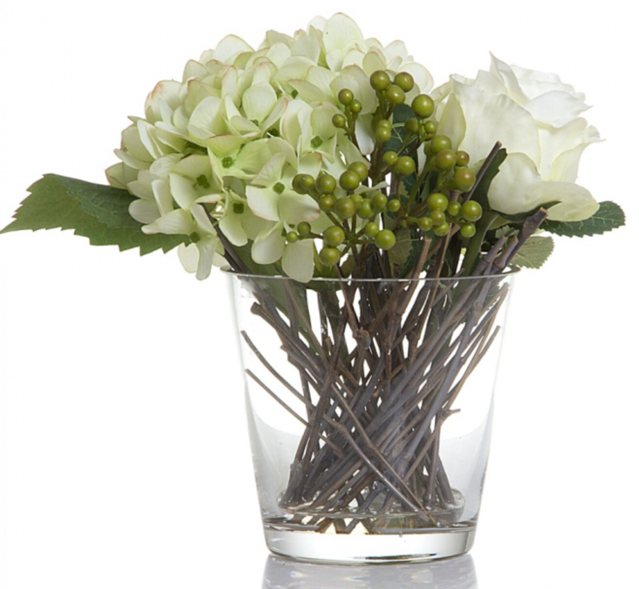 ROSE/BERRY/HYD IN GLASS VASE - WHITE
