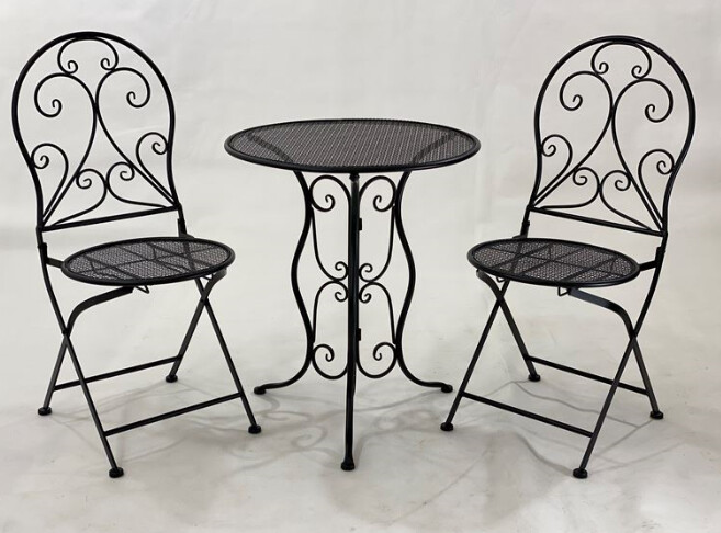 FURNITURE - 3 PIECE OUTDOOR SETTING BLACK