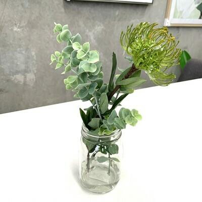 PIN CUSHION NATIVE GREEN IN GLASS JAR