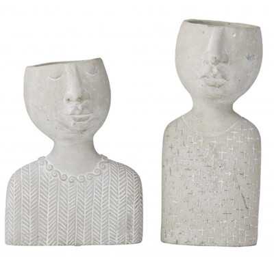 CEMENT POTS - EMILE & EMILE SET/2