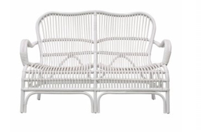 FURNITURE -  RATTAN 2 SEATER WHITE