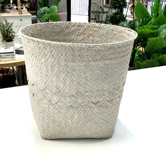 WHITE WASHED WOVEN PLANT TUB LARGE