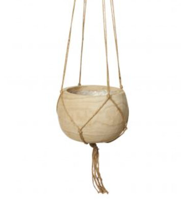 WOOD & MACRAME HANGING BOWL
