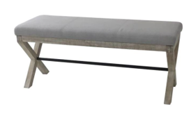 FURNITURE - UPHOLSTERED BENCH SEAT GREY