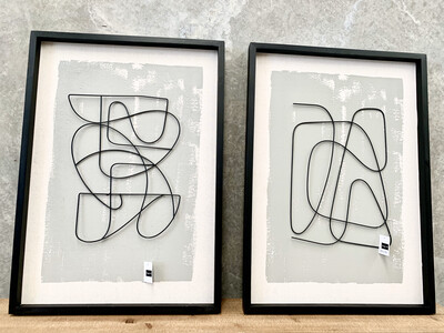 SET/2 ASST FRAMED ABSTRACT 3-D DANCING LINE-ART
