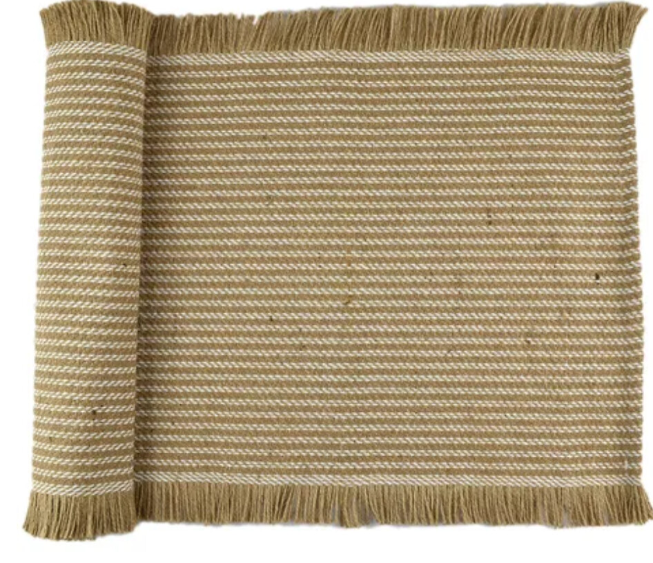 JAI COTTON JUTE TABLE RUNNER - TAUPE