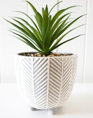 PLANT & POT CHEVRON GREY & WHITE