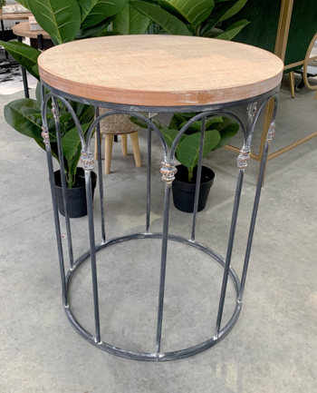 FURNITURE - WOOD CROSSHATCH LARGE SIDE TABLE