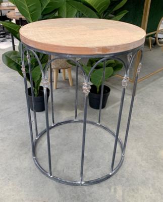 FURNITURE - WOOD CROSSHATCH LARGE SIDE TABLE