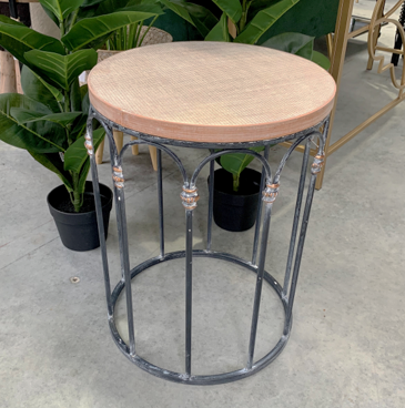 FURNITURE - WOOD CROSSHATCH SMALL SIDE TABLE