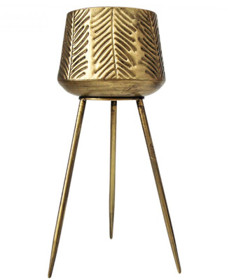 PLANTER LEAF TALL - GOLD