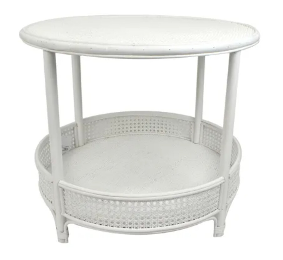 FURNITURE - RATTAN COFFEE TABLE WHITE
