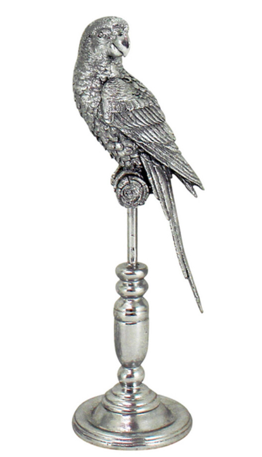 SILVER PARROT ON STAND