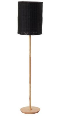 LIGHTING - RATTAN FLOOR LAMP BLACK