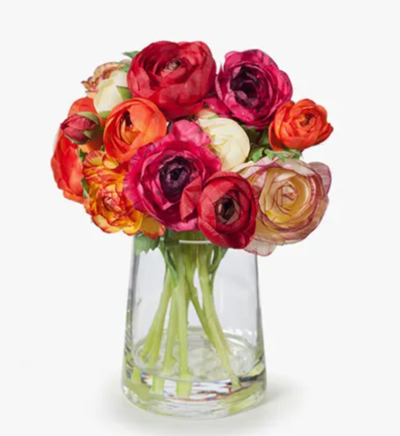 RANUNCULUS MIX IN GLASS VASE