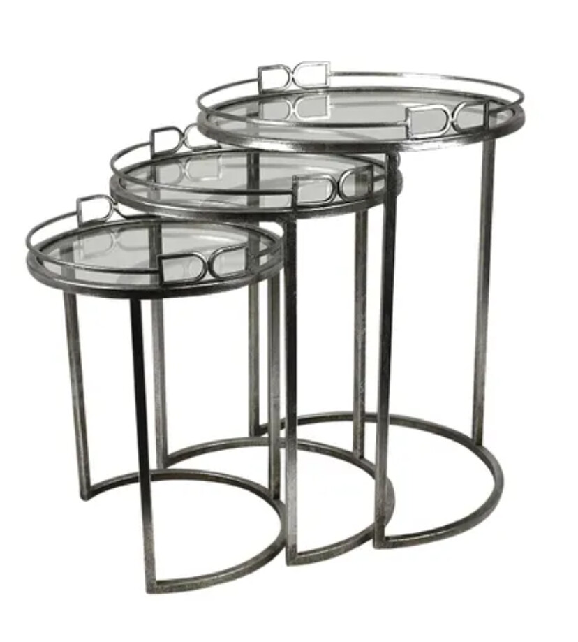 FURNITURE - SILVER METAL TABLES SET OF 3