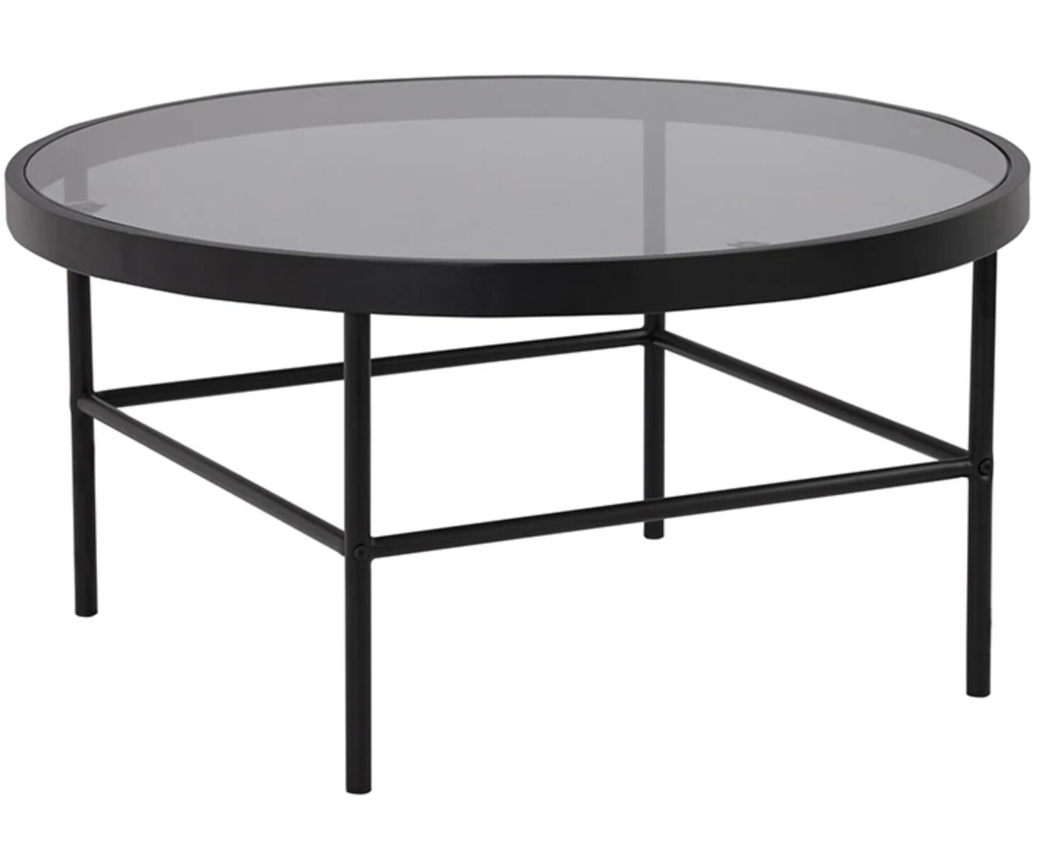 FURNITURE - ROUND BLACK GLASS COFFEE TABLE