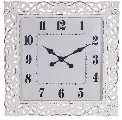 WOOD CARVED LACE WALL CLOCK