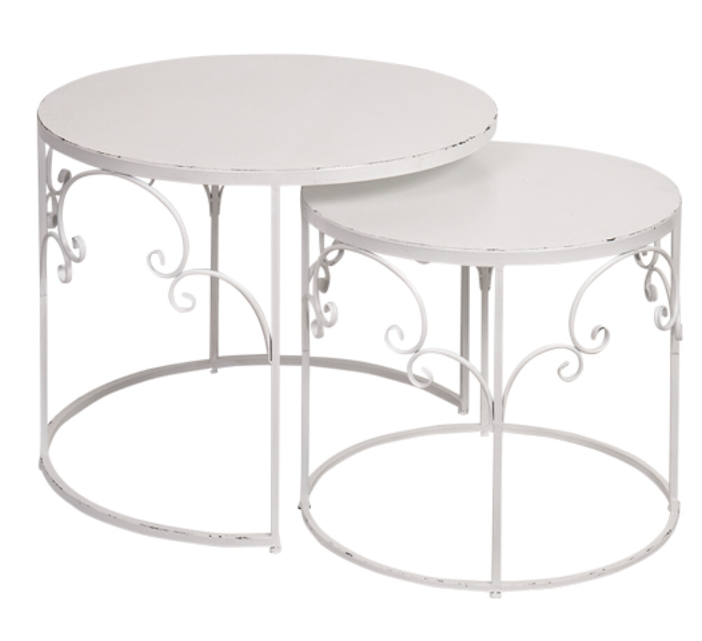 FURNITURE - METAL NESTED TABLE SET WHITE