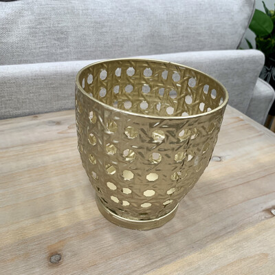 DECORATIVE METAL PLANTER - GOLD