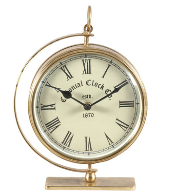 ANTIQUE GOLD COLONIAL TABLE CLOCK