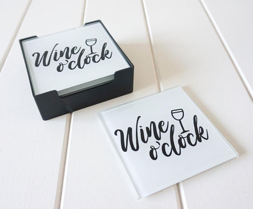 GLASS COASTER - WINE O'CLOCK