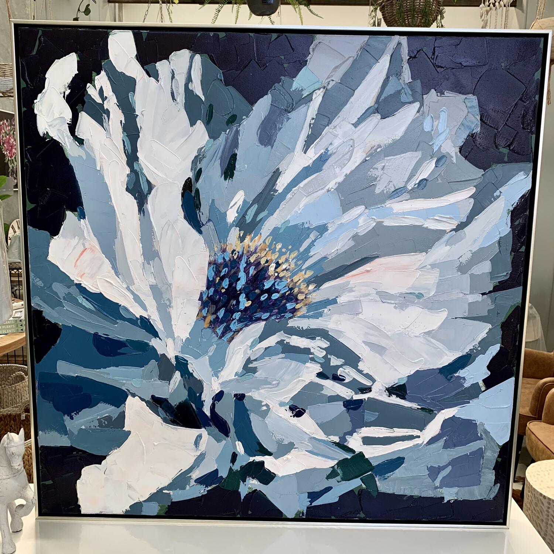 BLUE FLOWER CANVAS FRAMED