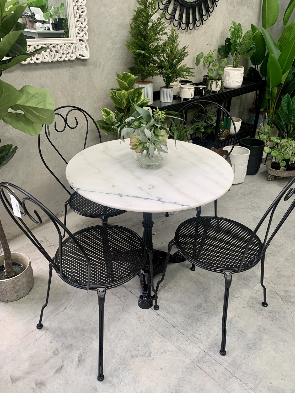 MARBLE 5 PIECE PATIO SETTING