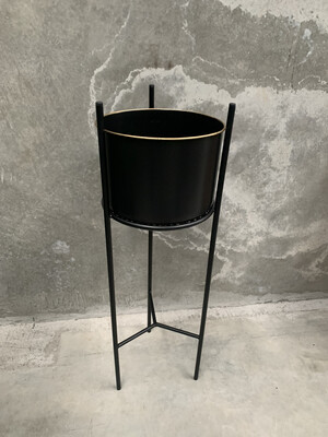 BLACK & GOLD METAL PLANTER - LARGE
